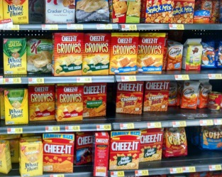 Shelf full of crackers and processed food