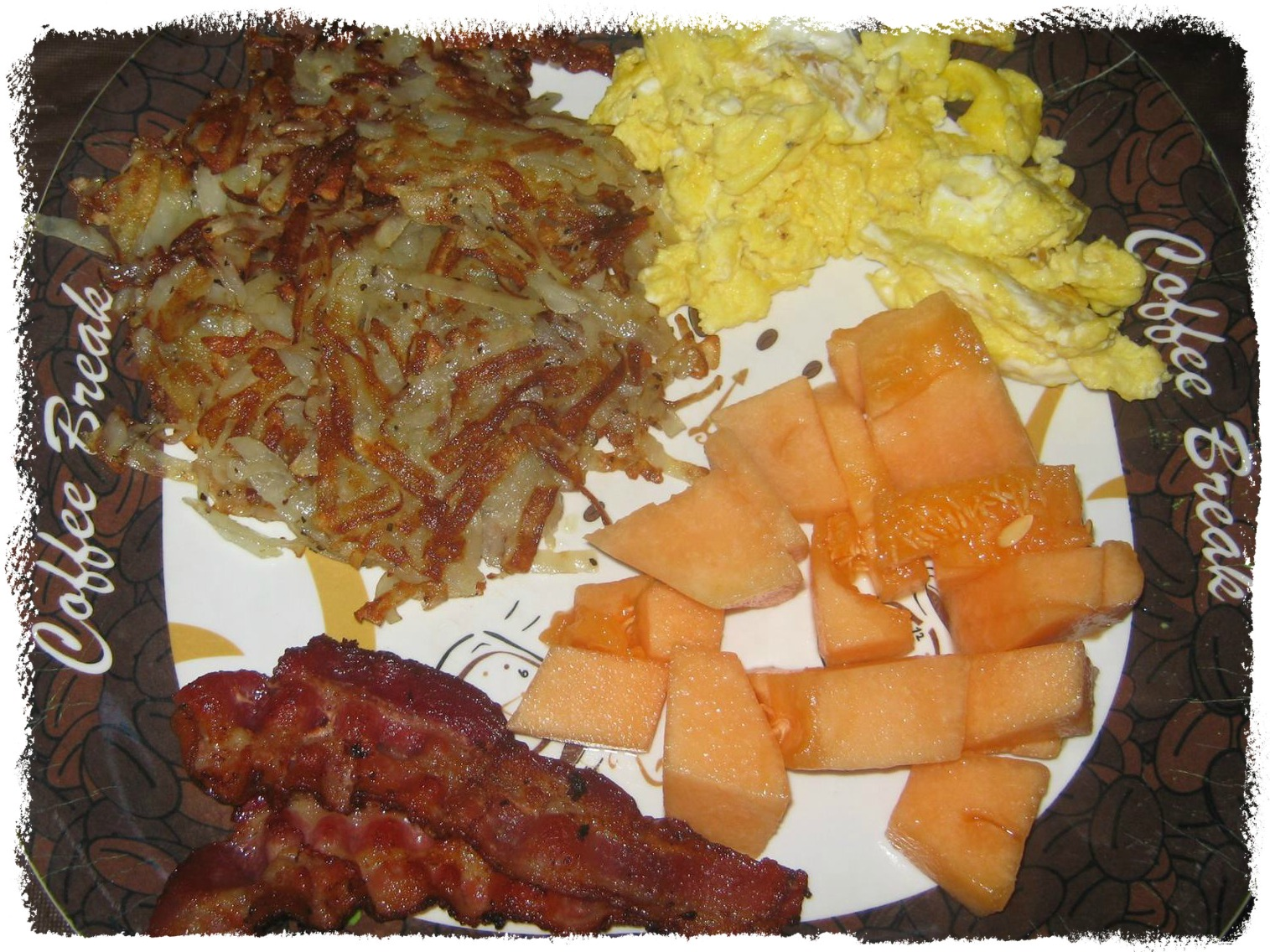 Canteloupe nitrate free bacon hash browns eggs