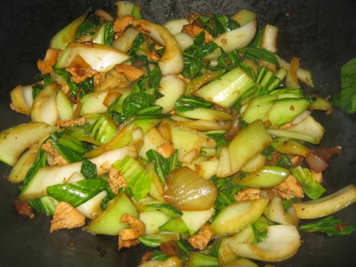 Bok choy onions and chicken