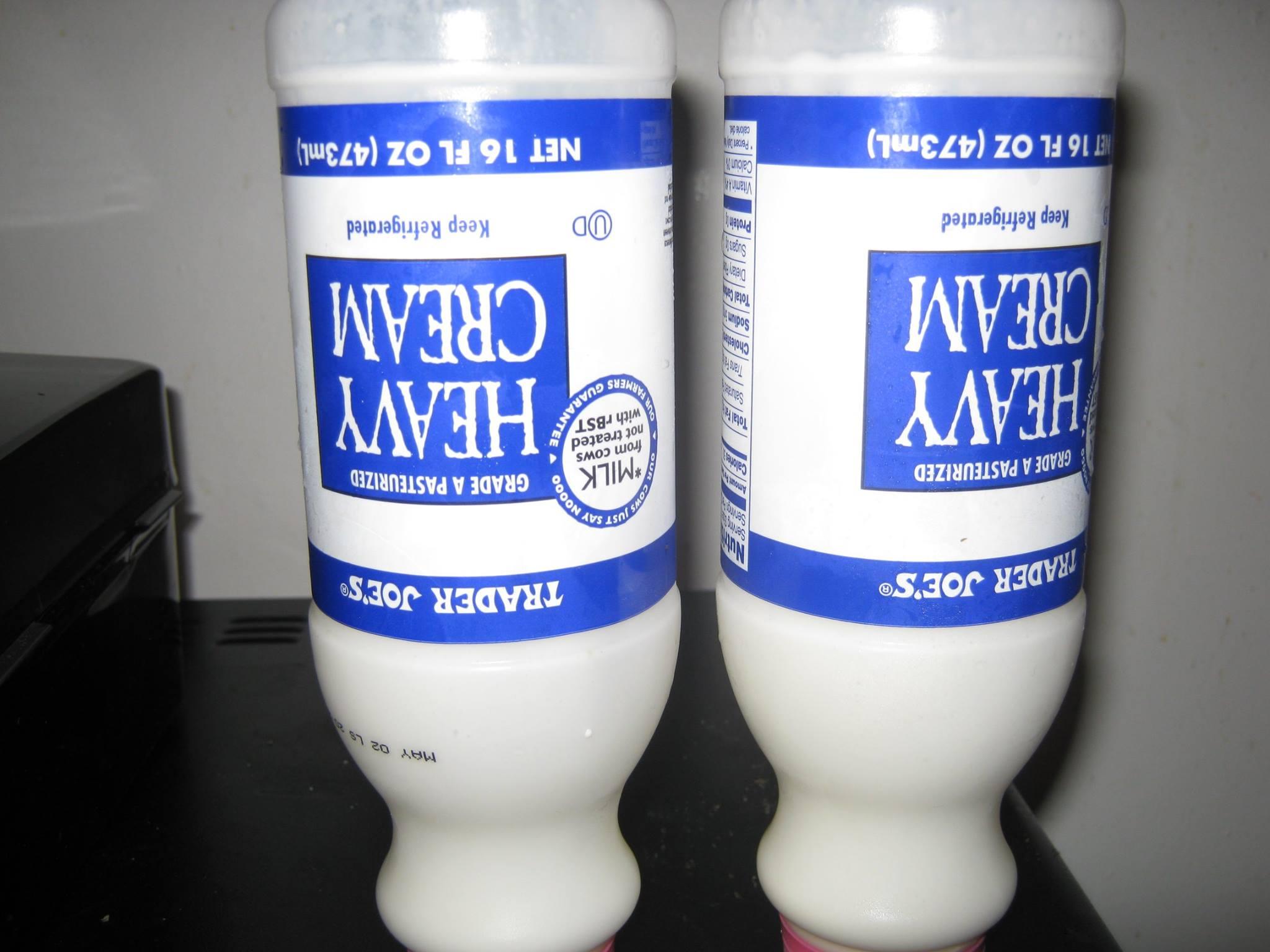 Two 16 oz bottles of heavy cream