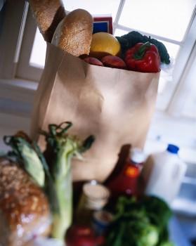 Bag of groceries and food