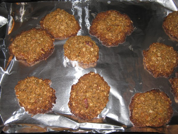 Gluten free oatmeal cookies on baking sheet