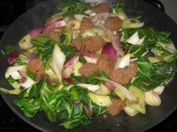 Bok choy & meatballs