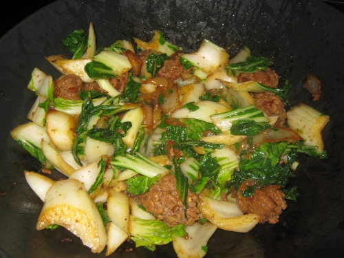 Finished bok choy, onions and meatballs