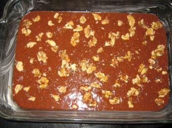 Gluten free brownie batter in a pan