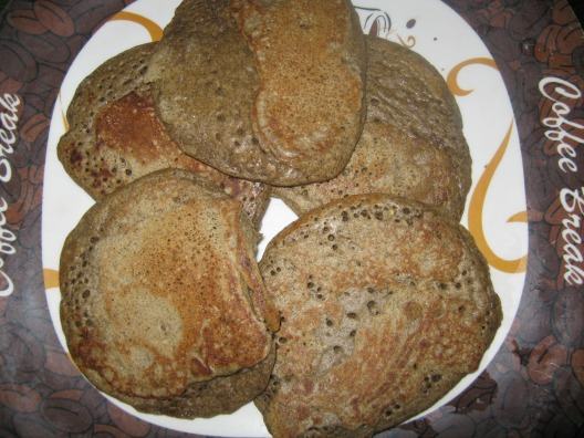 gluten free pancakes made with garbanzo bean flour and buckwheat flour