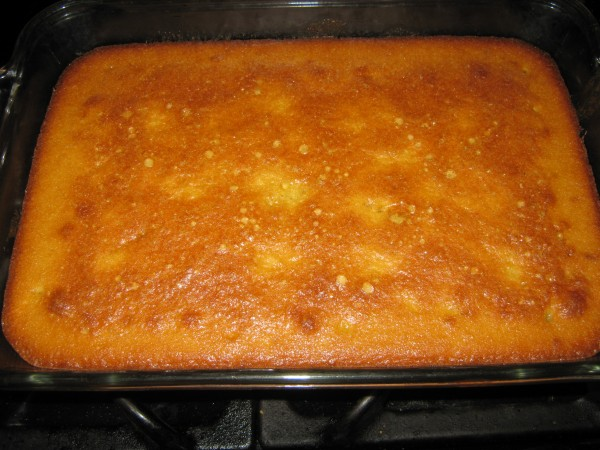 Lemon pound cake right out of the oven