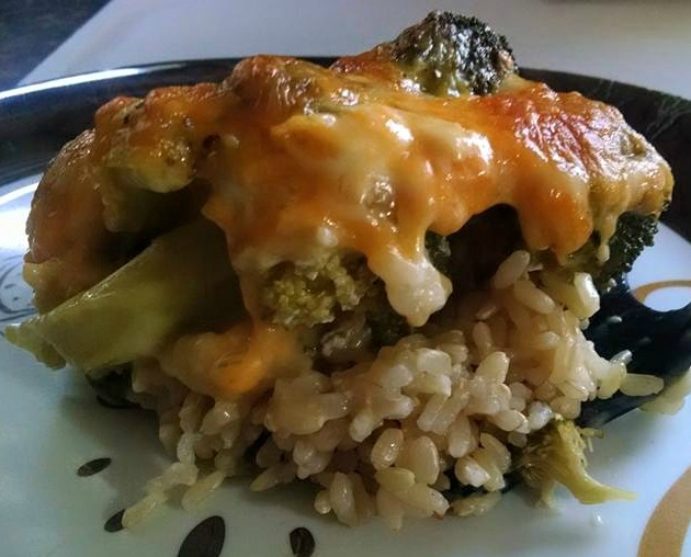Chicken, broccoli, cheese casserole on a plate