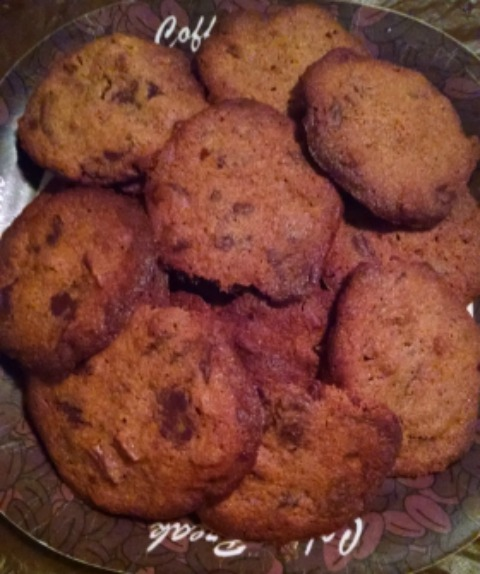 Close up of chocolate chip cookies on a plate