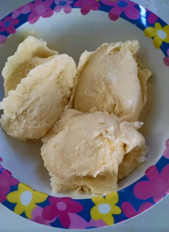 Completely frozen home made sugar free ice cream