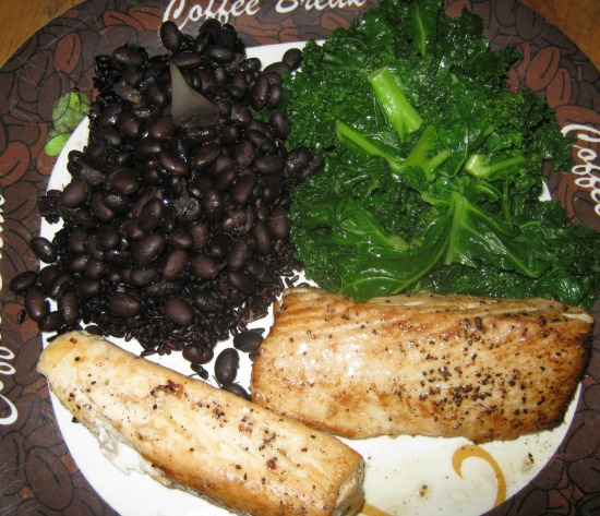 Picture of kale mahi mahi and black beans
