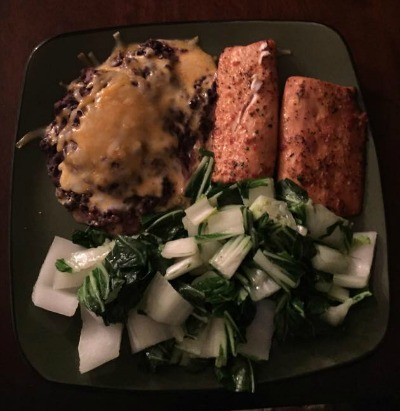 Sample hair loss nutrition meal containing bok choy, sockeye salmon, black beans and cheese.