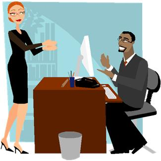 Cartoon of man and woman in office
