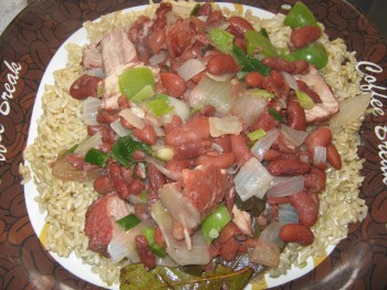 Plate with red beans and brown rice