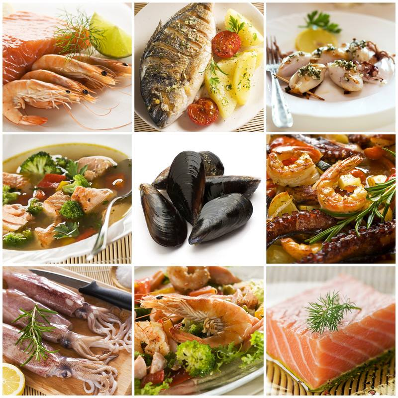 seafood collage