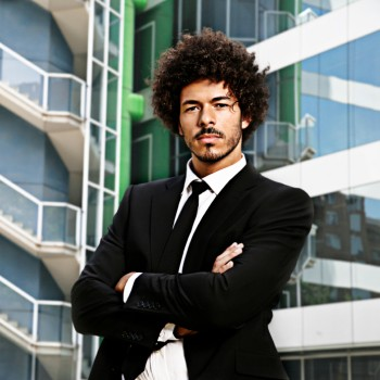 African American man afro suit
