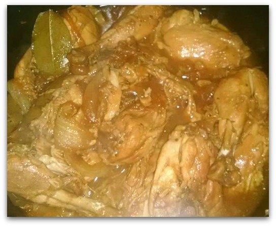 Chicken adobo in a pot