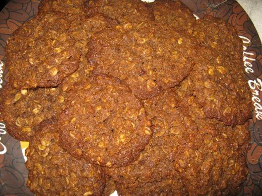 golden brown gluten free oatmeal cookies on plate