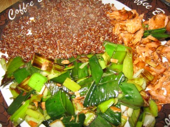 Red quinoa leeks and salmon